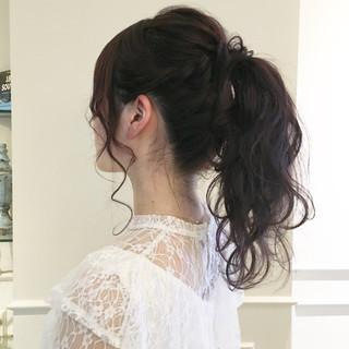 編み込み ナチュラル ガーリー ヘアアレンジ ヘアスタイルや髪型の写真・画像