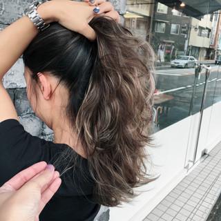 ストリート 外国人風カラー 冬 セミロング ヘアスタイルや髪型の写真・画像