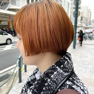 大人ショート アプリコットオレンジ ショートボブ ショートヘア ヘアスタイルや髪型の写真・画像