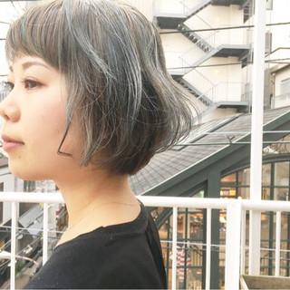 ストリート ネイビーカラー ネイビーブルー コリアンネイビー ヘアスタイルや髪型の写真・画像