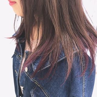ミディアム ストリート インナーカラー ラベンダー ヘアスタイルや髪型の写真・画像 ヘアスタイルや髪型の写真・画像