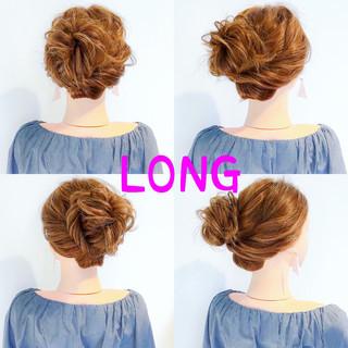 フェミニン ヘアアレンジ オフィス アウトドア ヘアスタイルや髪型の写真・画像 ヘアスタイルや髪型の写真・画像