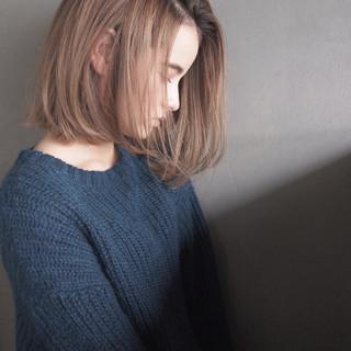 大人女子 ボブ ワンレングス 外ハネ ヘアスタイルや髪型の写真・画像