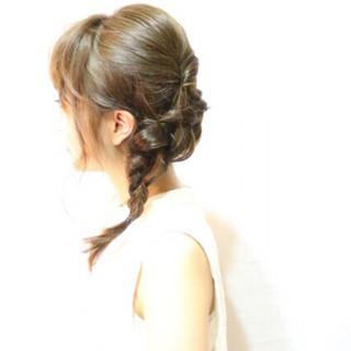 ヘアアレンジ 編み込み ガーリー 前髪あり ヘアスタイルや髪型の写真・画像