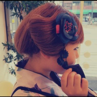 ヘアアレンジ 着物 セミロング モード ヘアスタイルや髪型の写真・画像