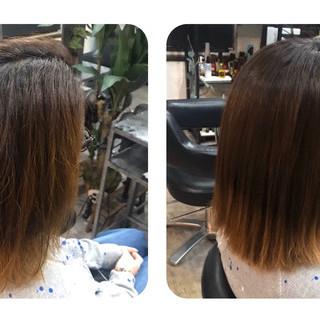 ミディアム ツヤ髪 ミニボブ ナチュラル ヘアスタイルや髪型の写真・画像