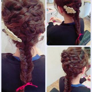 大人かわいい ゆるふわ 編み込み ヘアアレンジ ヘアスタイルや髪型の写真・画像