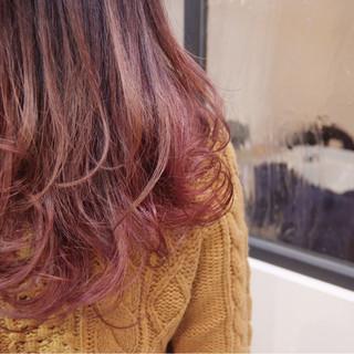 ゆるふわ ガーリー ベリーピンク セミロング ヘアスタイルや髪型の写真・画像
