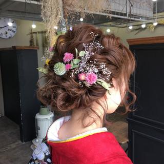 セミロング ドライフラワー パーティ 結婚式 ヘアスタイルや髪型の写真・画像