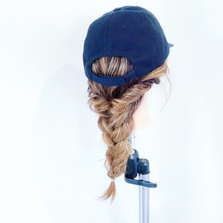 ヘアアレンジ ガーリー 編み込み キャップ ヘアスタイルや髪型の写真・画像