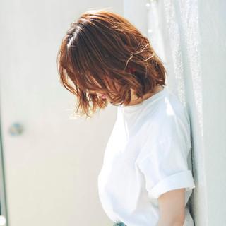 透明感カラー 切りっぱなしボブ アンニュイほつれヘア ボブ ヘアスタイルや髪型の写真・画像