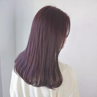 ロング オルチャン ピンク ロブ ヘアスタイルや髪型の写真・画像