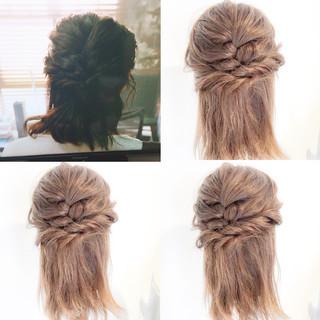 ハーフアップ 女子会 ナチュラル デート ヘアスタイルや髪型の写真・画像