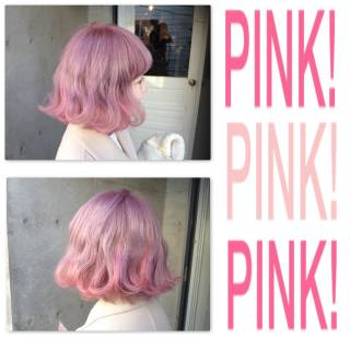 ボブ ストリート レッド ピンク ヘアスタイルや髪型の写真・画像