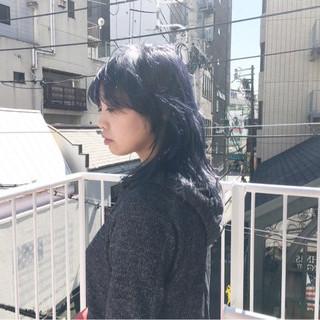 マッシュウルフ ストリート ミディアム インナーカラーパープル ヘアスタイルや髪型の写真・画像