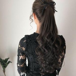 ポニーテール 上品 ヘアアレンジ ロング ヘアスタイルや髪型の写真・画像
