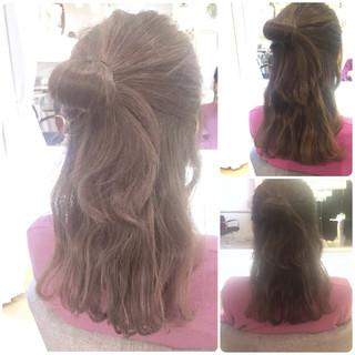 デート ハーフアップ 女子会 ヘアアレンジ ヘアスタイルや髪型の写真・画像