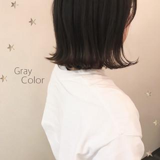暗髪 ミディアム 切りっぱなしボブ ストリート ヘアスタイルや髪型の写真・画像