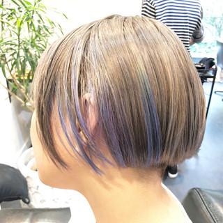 透明感 バレイヤージュ ボブ グラデーションカラー ヘアスタイルや髪型の写真・画像