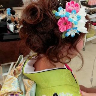 ヘアアレンジ アップスタイル 成人式 ガーリー ヘアスタイルや髪型の写真・画像