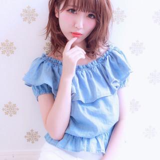 ハイライト ミディアム ピュア ガーリー ヘアスタイルや髪型の写真・画像