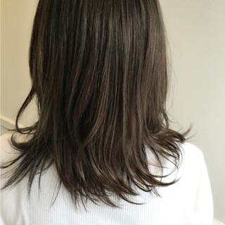 暗髪 ミディアム ボブ アッシュ ヘアスタイルや髪型の写真・画像
