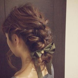 ミディアム 簡単ヘアアレンジ 大人かわいい セミロング ヘアスタイルや髪型の写真・画像