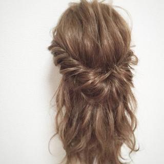 ショート ヘアアレンジ セミロング ハーフアップ ヘアスタイルや髪型の写真・画像