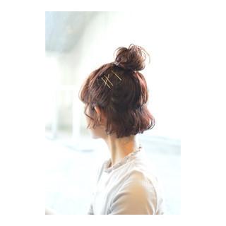 ハーフアップ ボブ ヘアアレンジ お団子 ヘアスタイルや髪型の写真・画像