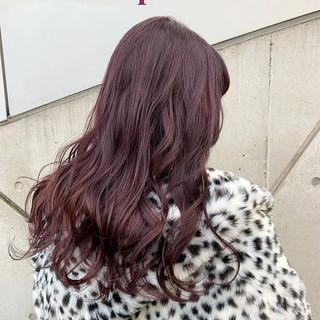 レッドカラー アプリコットオレンジ ラベンダーアッシュ エレガント ヘアスタイルや髪型の写真・画像