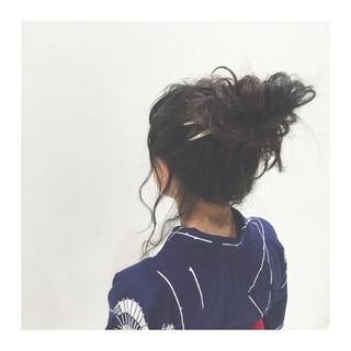 セミロング 大人かわいい ヘアアレンジ 暗髪 ヘアスタイルや髪型の写真・画像 ヘアスタイルや髪型の写真・画像