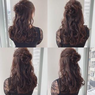 ハーフアップ デート 結婚式 ロング ヘアスタイルや髪型の写真・画像 ヘアスタイルや髪型の写真・画像