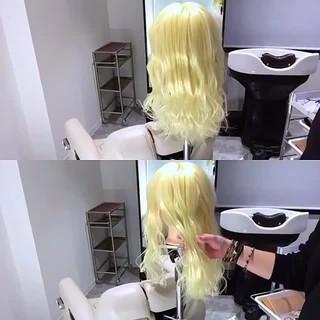 まとめ髪 ナチュラル セミロング 波ウェーブ ヘアスタイルや髪型の写真・画像