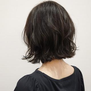 ナチュラル 暗髪 外ハネ ボブ ヘアスタイルや髪型の写真・画像