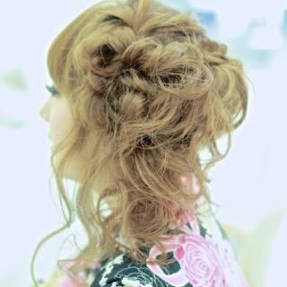夏 編み込み ヘアアレンジ コンサバ ヘアスタイルや髪型の写真・画像