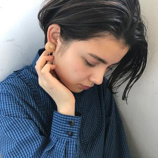 黒髪 アッシュ 透明感 ナチュラル ヘアスタイルや髪型の写真・画像