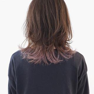 ラベンダーアッシュ 外国人風カラー セミロング モード ヘアスタイルや髪型の写真・画像