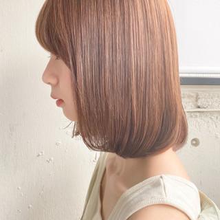ミディアムレイヤー 縮毛矯正ストカール ロブ ナチュラル ヘアスタイルや髪型の写真・画像
