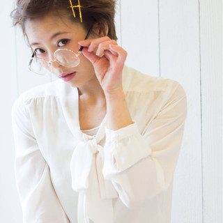 簡単ヘアアレンジ ヘアアクセ 大人かわいい ショート ヘアスタイルや髪型の写真・画像