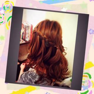 ヘアアレンジ ウォーターフォール ハーフアップ 三つ編み ヘアスタイルや髪型の写真・画像