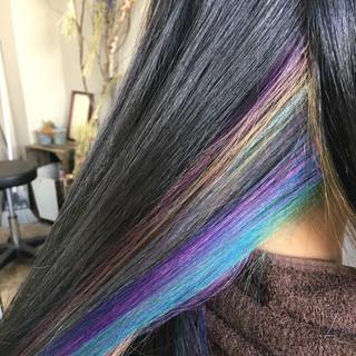 インナーカラー ストリート メッシュ ミディアム ヘアスタイルや髪型の写真・画像