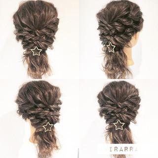 簡単ヘアアレンジ ヘアアレンジ セミロング 編み込み ヘアスタイルや髪型の写真・画像