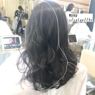 ナチュラル セミロング 前髪 髪質改善 ヘアスタイルや髪型の写真・画像