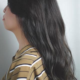 黒髪 デート セミロング パーマ ヘアスタイルや髪型の写真・画像