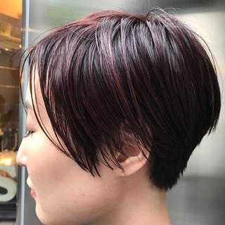 ショート ハイライト 小顔 似合わせ ヘアスタイルや髪型の写真・画像