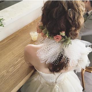 ガーリー ナチュラル 結婚式 セミロング ヘアスタイルや髪型の写真・画像