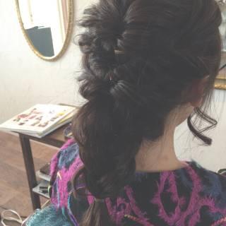 編み込み ヘアアレンジ ゆるふわ 結婚式 ヘアスタイルや髪型の写真・画像