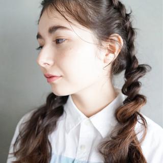 アンニュイ 三つ編み 編み込み ロング ヘアスタイルや髪型の写真・画像