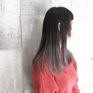 モード セミロング 外国人風カラー グレージュ ヘアスタイルや髪型の写真・画像