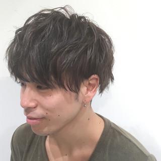 アッシュ パーマ ハイライト ショート ヘアスタイルや髪型の写真・画像
